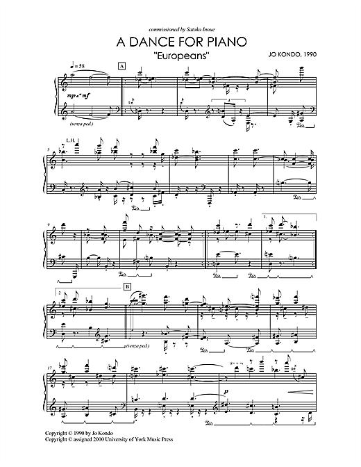 Jo Kondo A Dance For Piano,