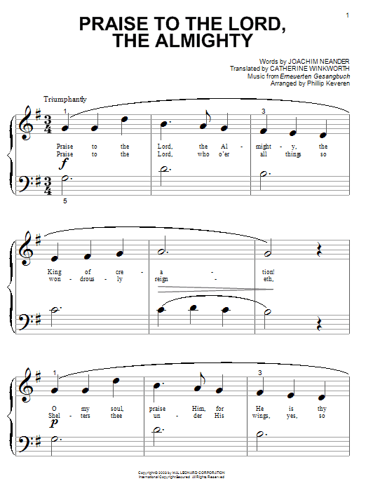 Joachim Neander Praise To The Lord, The Almighty sheet music notes and chords. Download Printable PDF.