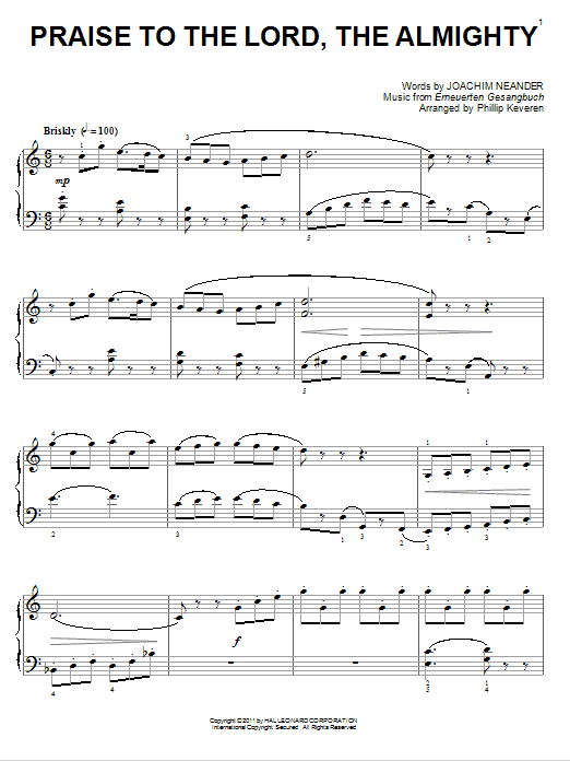 Joachim Neander Praise To The Lord, The Almighty [Classical version] (arr. Phillip Keveren) sheet music notes and chords. Download Printable PDF.