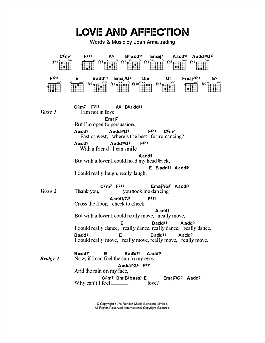Joan Armatrading Love And Affection sheet music notes and chords. Download Printable PDF.