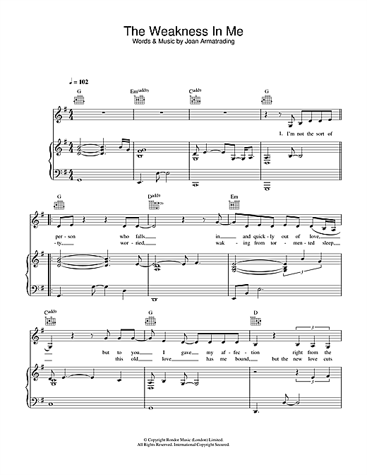 Joan Armatrading The Weakness In Me sheet music notes and chords