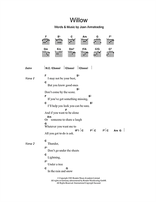 Joan Armatrading Willow sheet music notes and chords. Download Printable PDF.
