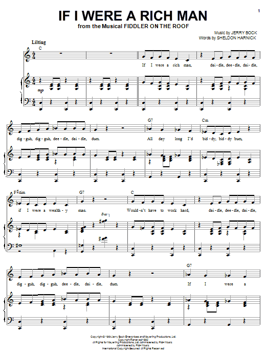 Joan Frey Boytim If I Were A Rich Man sheet music notes and chords. Download Printable PDF.