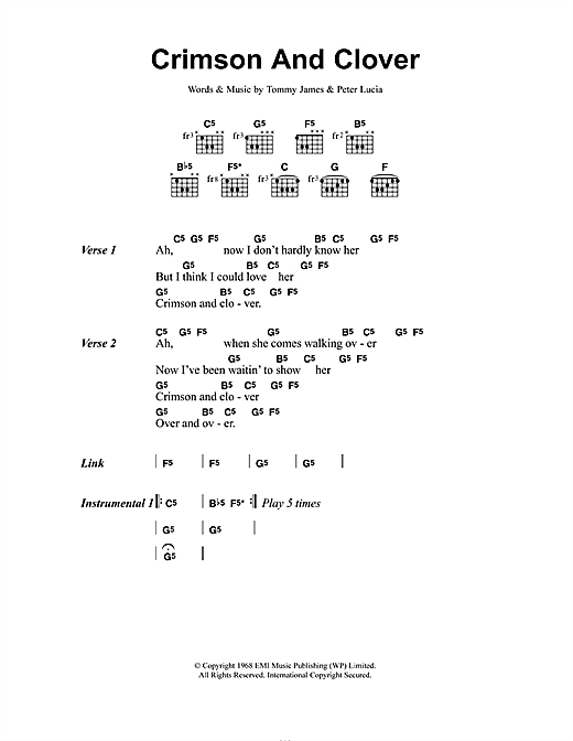 Joan Jett Crimson And Clover sheet music notes and chords. Download Printable PDF.
