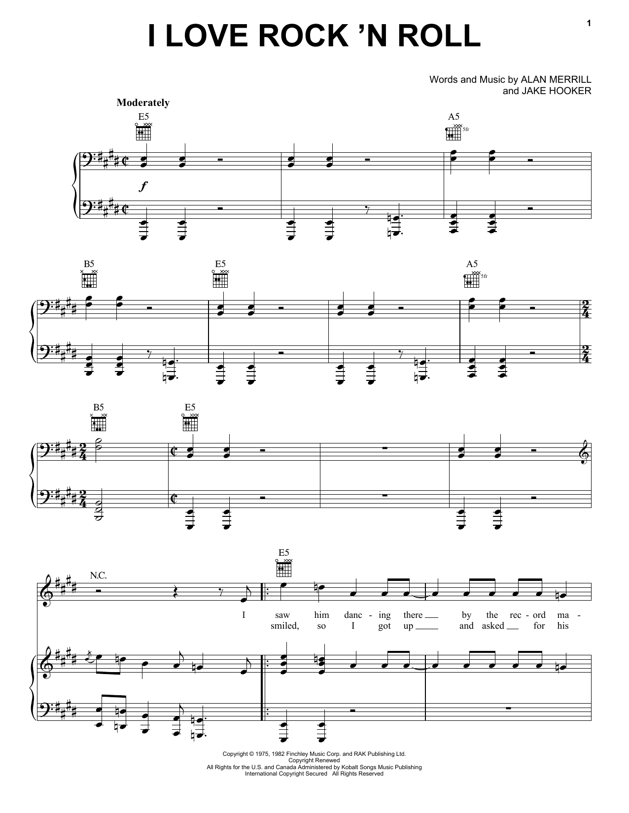 Joan Jett & The Blackhearts I Love Rock 'N Roll sheet music notes and chords. Download Printable PDF.