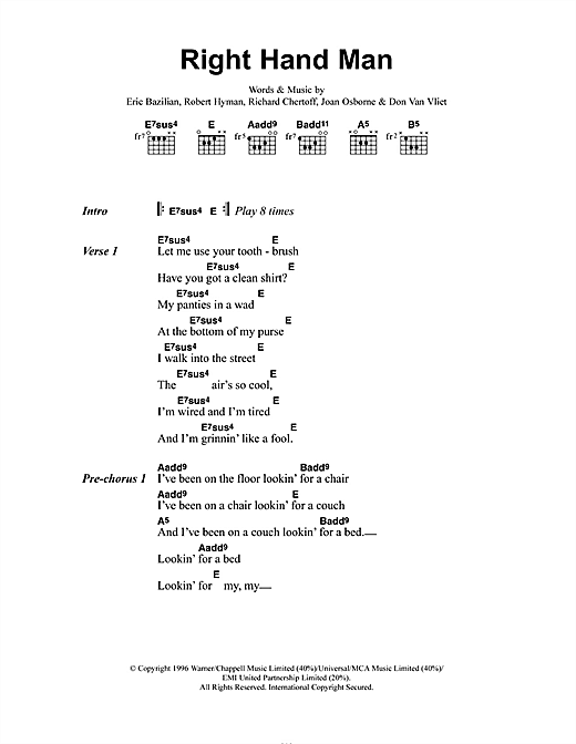 Joan Osbourne Right Hand Man sheet music notes and chords. Download Printable PDF.