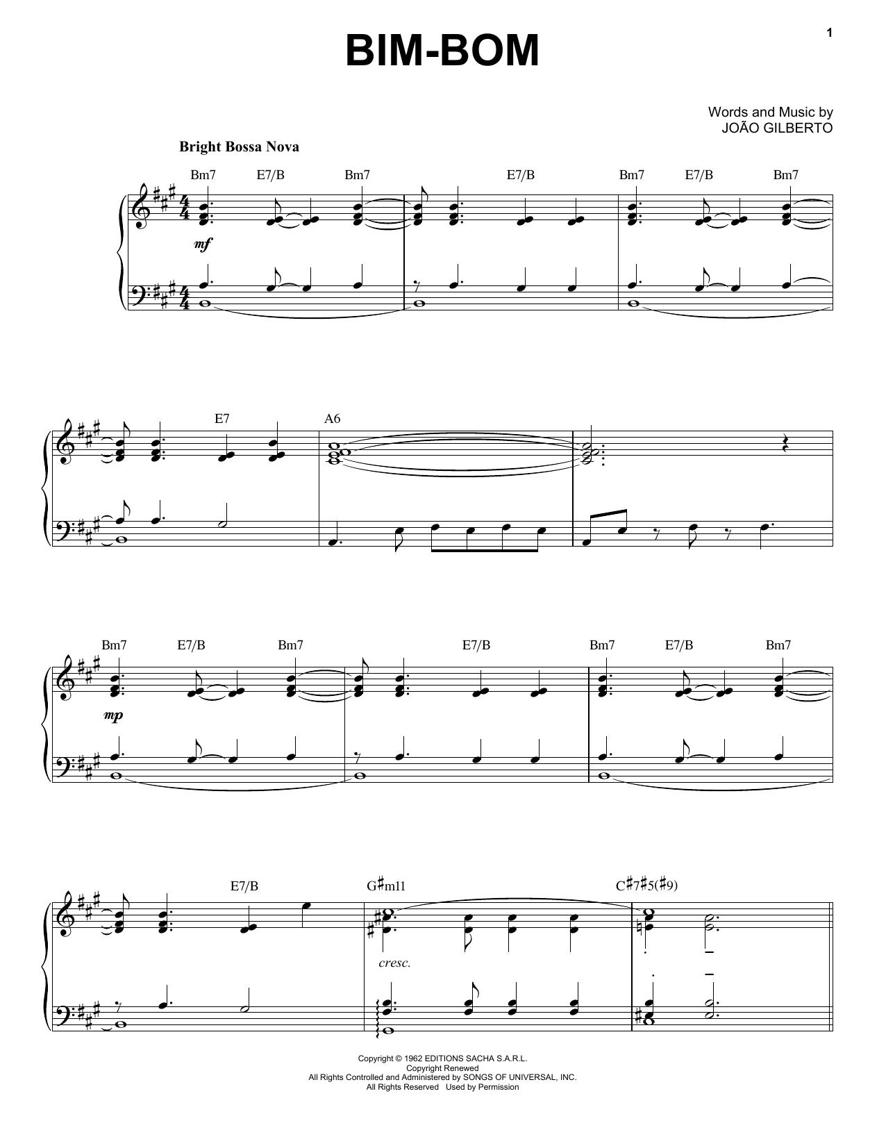 Joao Gilberto Bim-Bom sheet music notes and chords