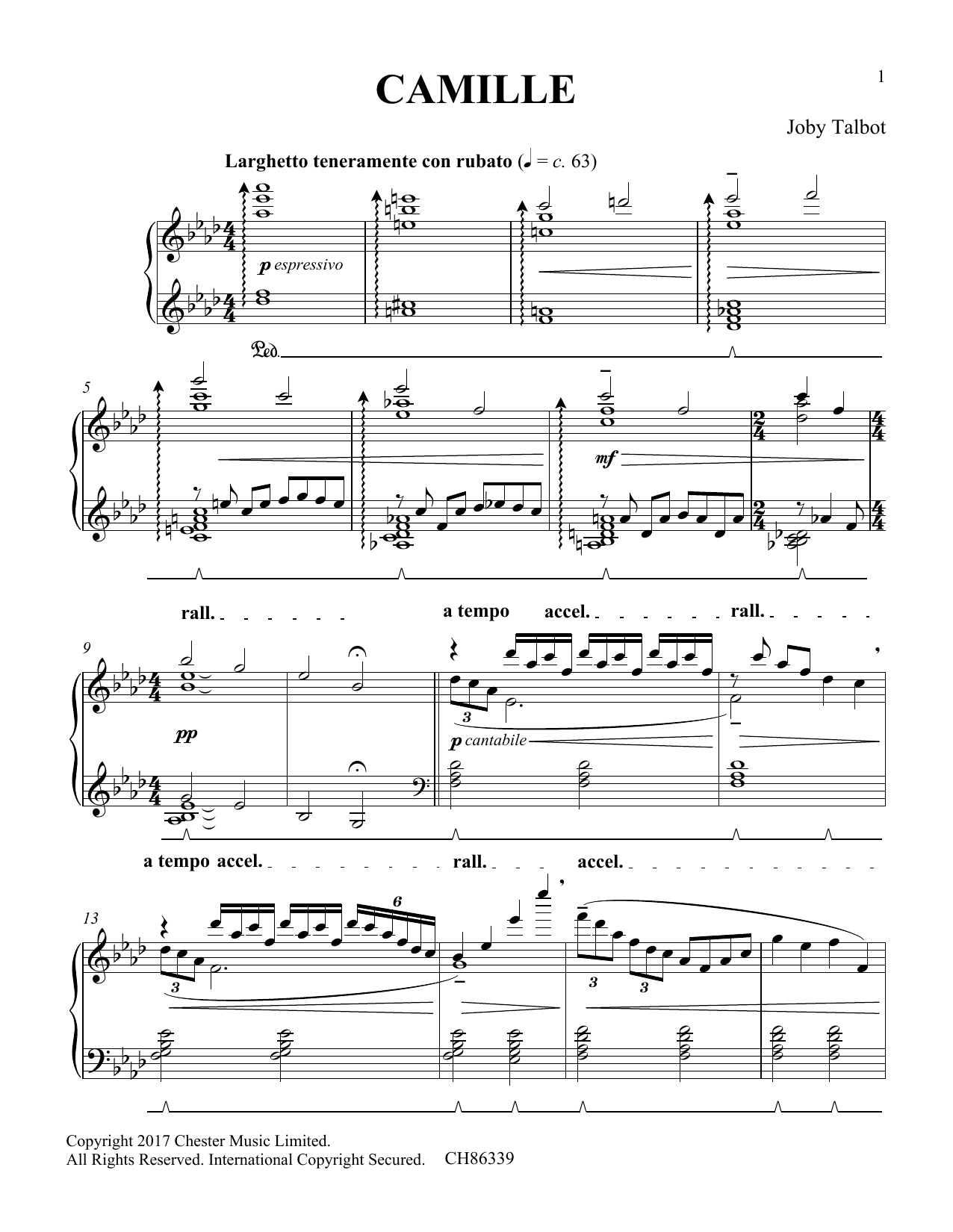 Joby Talbot Camille sheet music notes and chords