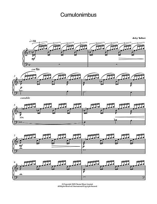 Joby Talbot Cumulonimbus sheet music notes and chords. Download Printable PDF.
