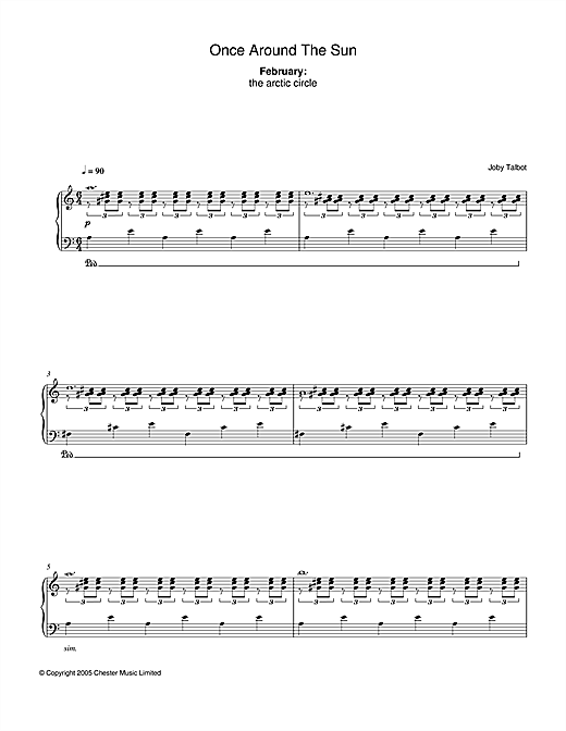 Joby Talbot February (from Once Around The Sun) sheet music notes and chords