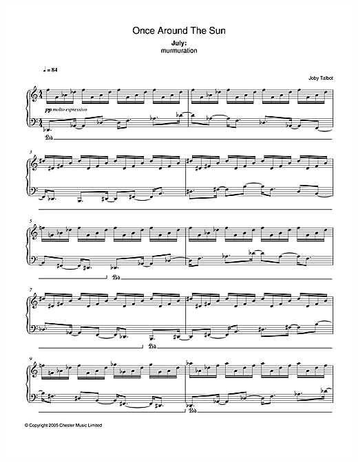 Joby Talbot July (from Once Around The Sun) sheet music notes and chords. Download Printable PDF.