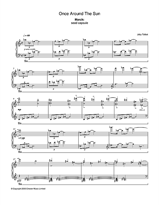 Joby Talbot March (from Once Around The Sun) sheet music notes and chords. Download Printable PDF.