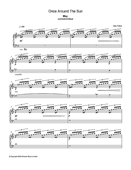 Joby Talbot May (from Once Around The Sun) sheet music notes and chords. Download Printable PDF.