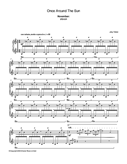 Joby Talbot November (from Once Around The Sun) sheet music notes and chords. Download Printable PDF.