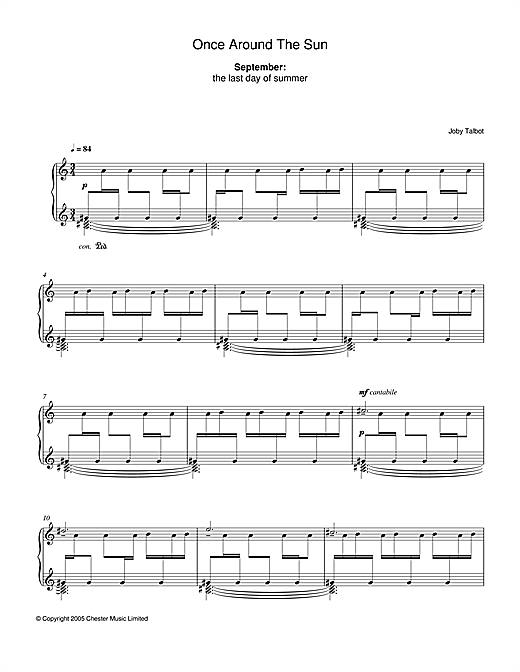 Joby Talbot September (from Once Around The Sun) sheet music notes and chords. Download Printable PDF.