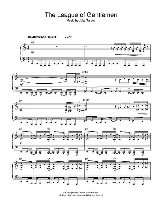 Joby Talbot The League Of Gentlemen sheet music notes and chords. Download Printable PDF.