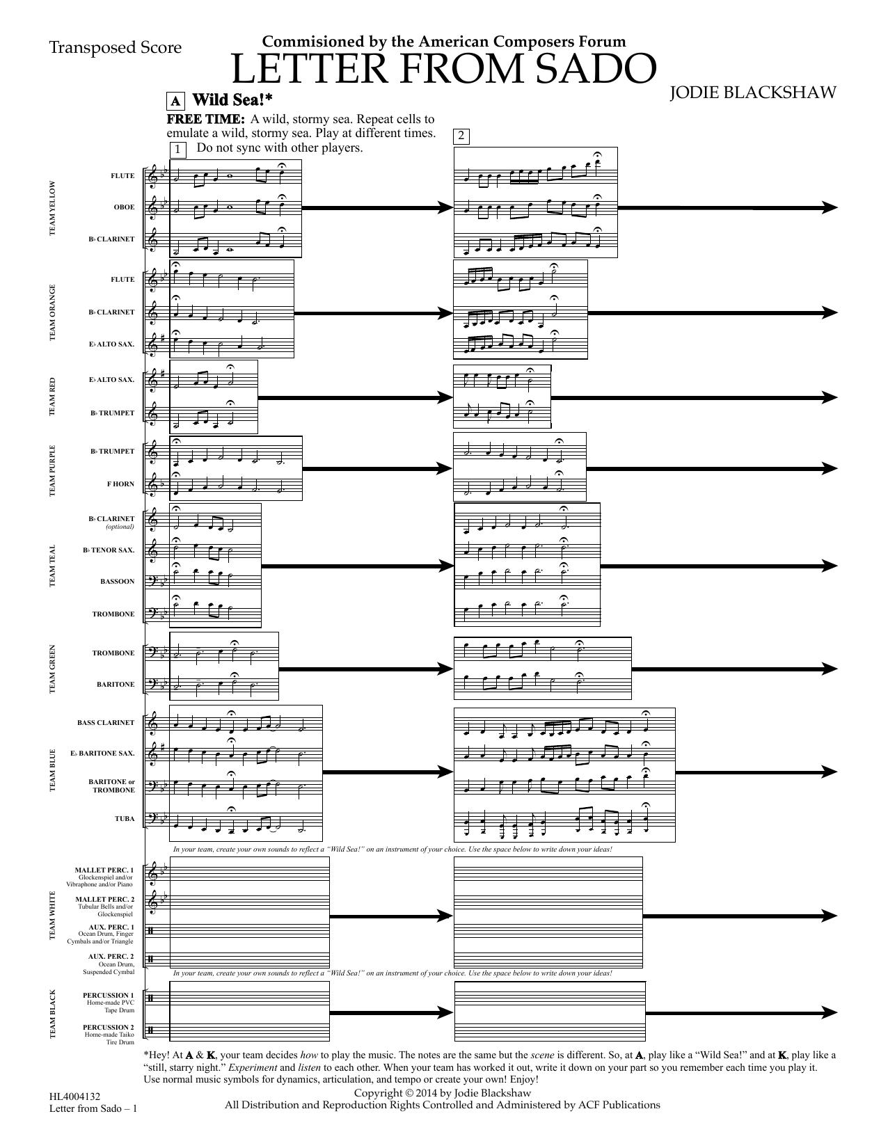 Jodie Blackshaw Letter From Sado - Full Score sheet music notes and chords. Download Printable PDF.