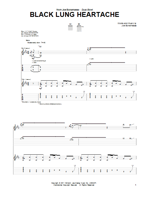 Joe Bonamassa Black Lung Heartache sheet music notes and chords. Download Printable PDF.