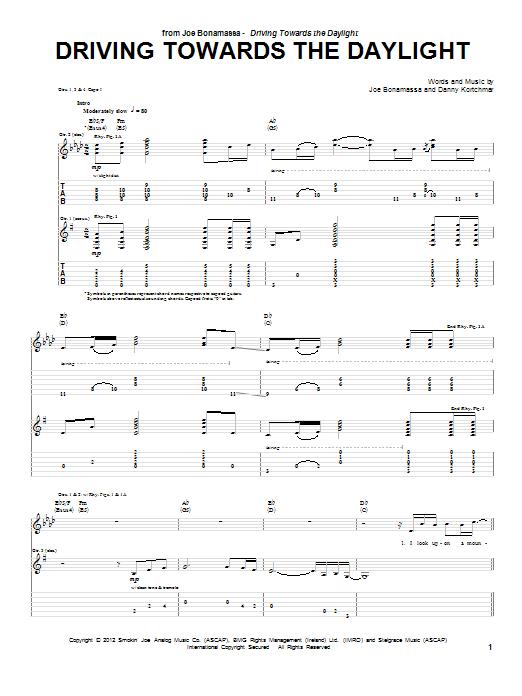 Joe Bonamassa Driving Towards The Daylight sheet music notes and chords. Download Printable PDF.