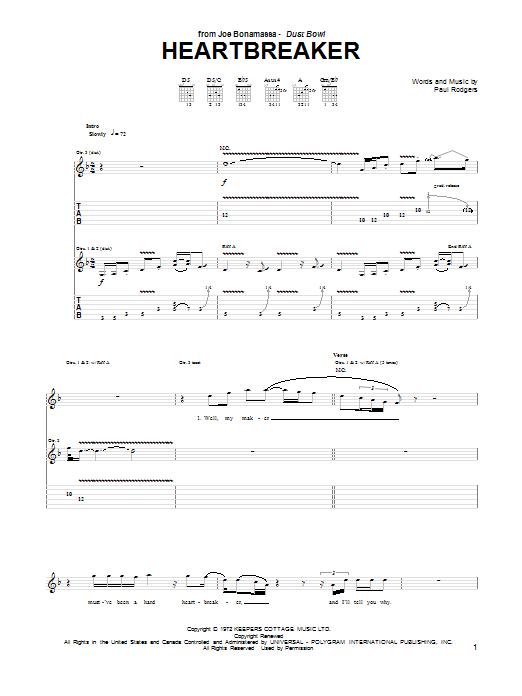 Joe Bonamassa Heartbreaker sheet music notes and chords. Download Printable PDF.