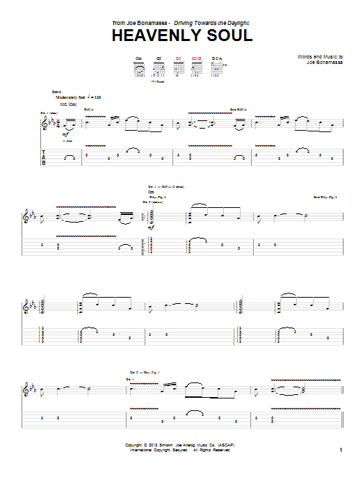 Joe Bonamassa Heavenly Soul sheet music notes and chords. Download Printable PDF.