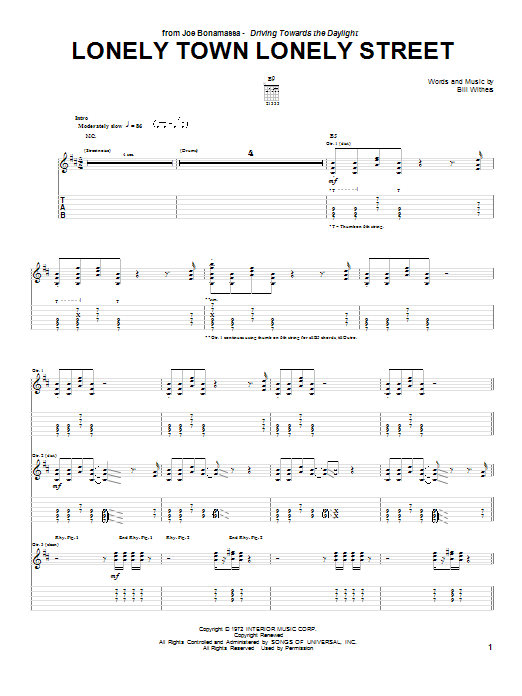 Joe Bonamassa Lonely Town Lonely Street sheet music notes and chords. Download Printable PDF.