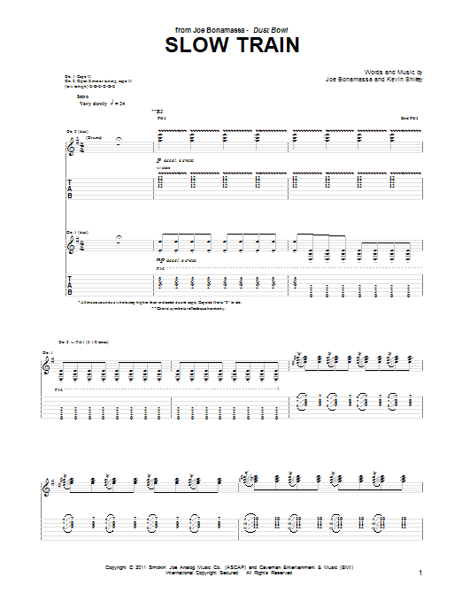 Joe Bonamassa Slow Train sheet music notes and chords. Download Printable PDF.