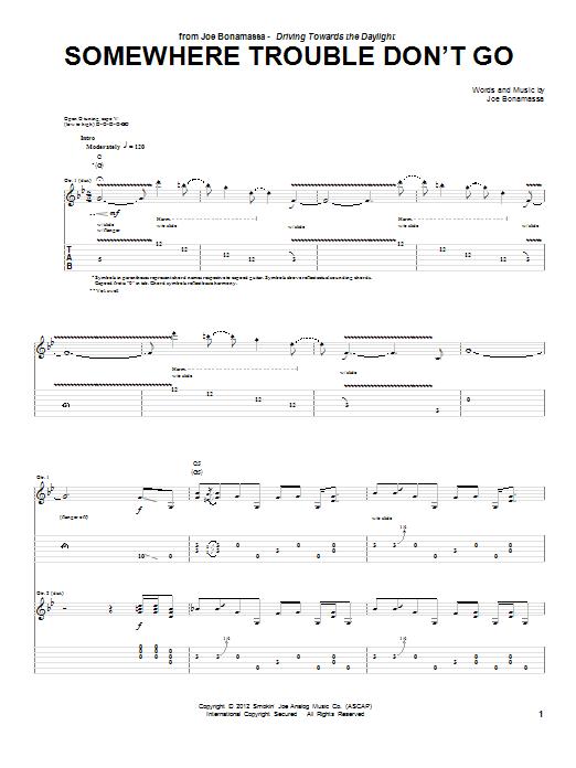 Joe Bonamassa Somewhere Trouble Don't Go sheet music notes and chords. Download Printable PDF.