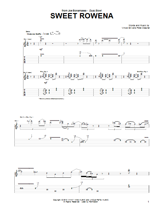 Joe Bonamassa Sweet Rowena sheet music notes and chords. Download Printable PDF.