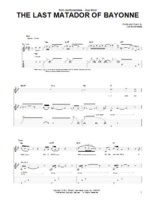 Joe Bonamassa The Last Matador Of Bayonne sheet music notes and chords. Download Printable PDF.