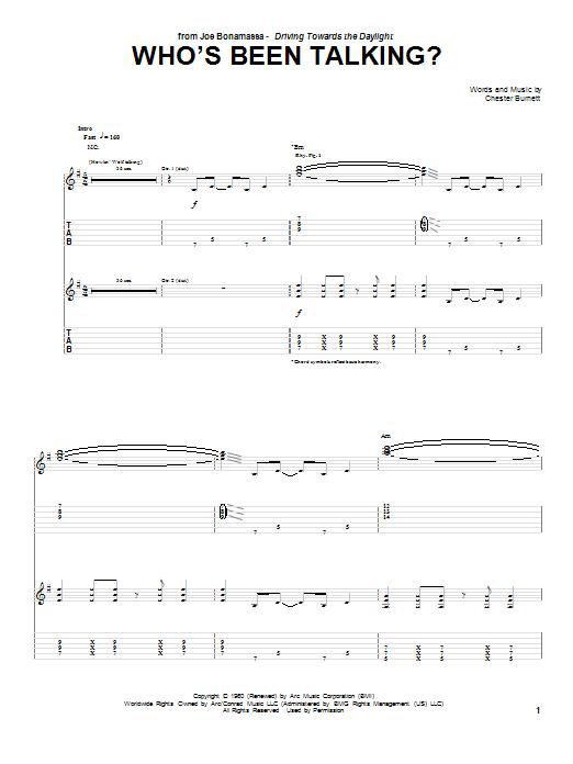 Joe Bonamassa Who's Been Talking sheet music notes and chords. Download Printable PDF.