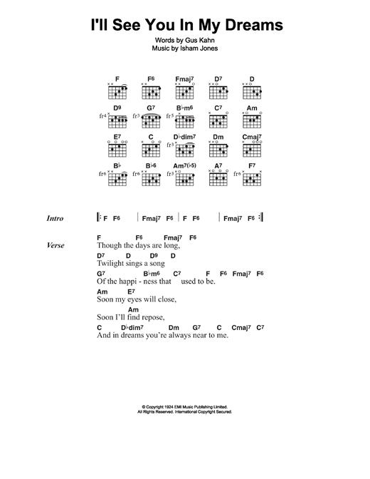 Joe Brown I'll See You In My Dreams sheet music notes and chords. Download Printable PDF.