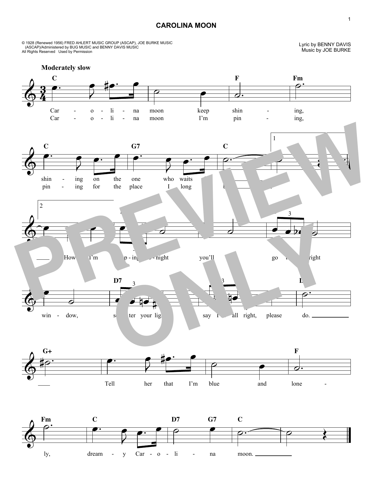 Joe Burke Carolina Moon sheet music notes and chords. Download Printable PDF.