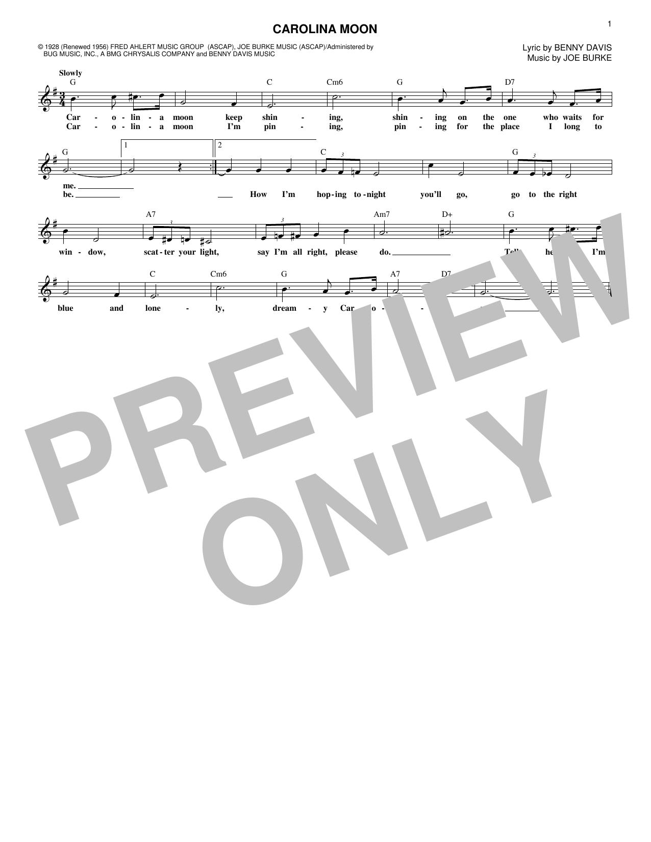 Joe Burke Carolina Moon sheet music notes and chords. Download Printable PDF.