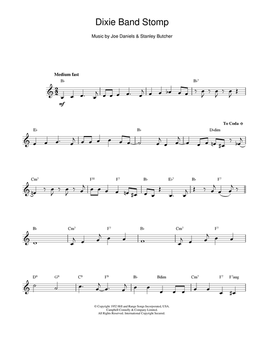 Joe Daniels Dixie Band Stomp sheet music notes and chords. Download Printable PDF.