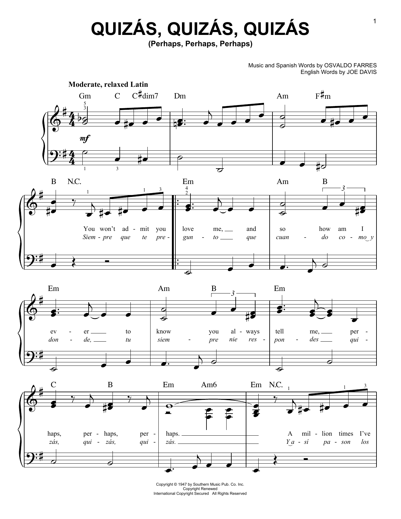 Joe Davis Quizas, Quizas, Quizas (Perhaps, Perhaps, Perhaps) sheet music notes and chords. Download Printable PDF.