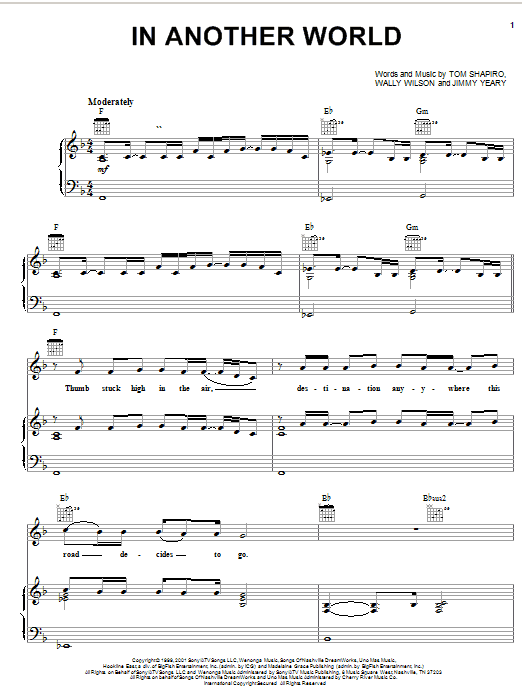 Joe Diffie In Another World sheet music notes and chords