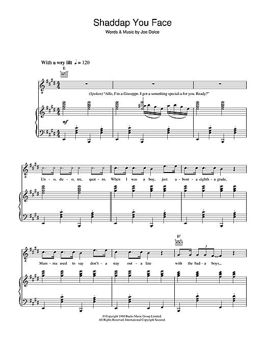 Joe Dolce Shaddap You Face sheet music notes and chords. Download Printable PDF.