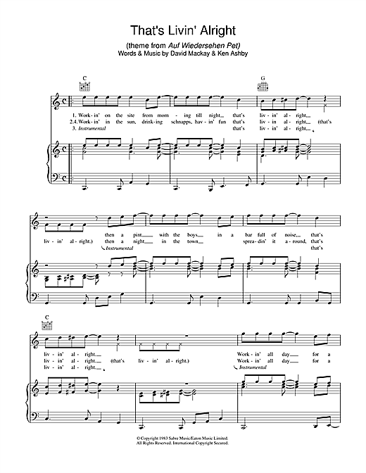 Joe Fagin That's Livin' Alright (theme from Auf Wiedersehen Pet) sheet music notes and chords. Download Printable PDF.