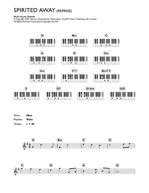 Joe Hisaishi Reprise From Spirited Away Sheet Music Pdf Notes Chords Film Tv Score Beginner Piano Download Printable Sku 118231