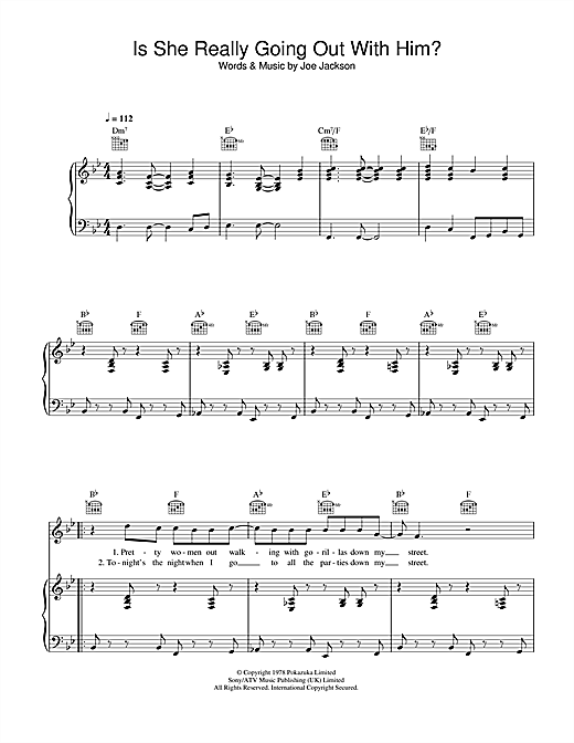 Joe Jackson Is She Really Going Out With Him? sheet music notes and chords. Download Printable PDF.