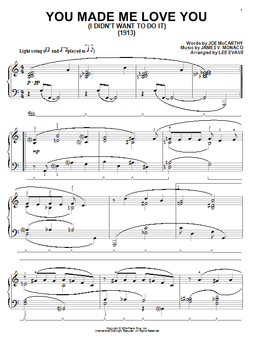 Joe McCarthy You Made Me Love You (I Didn't Want To Do It) sheet music notes and chords