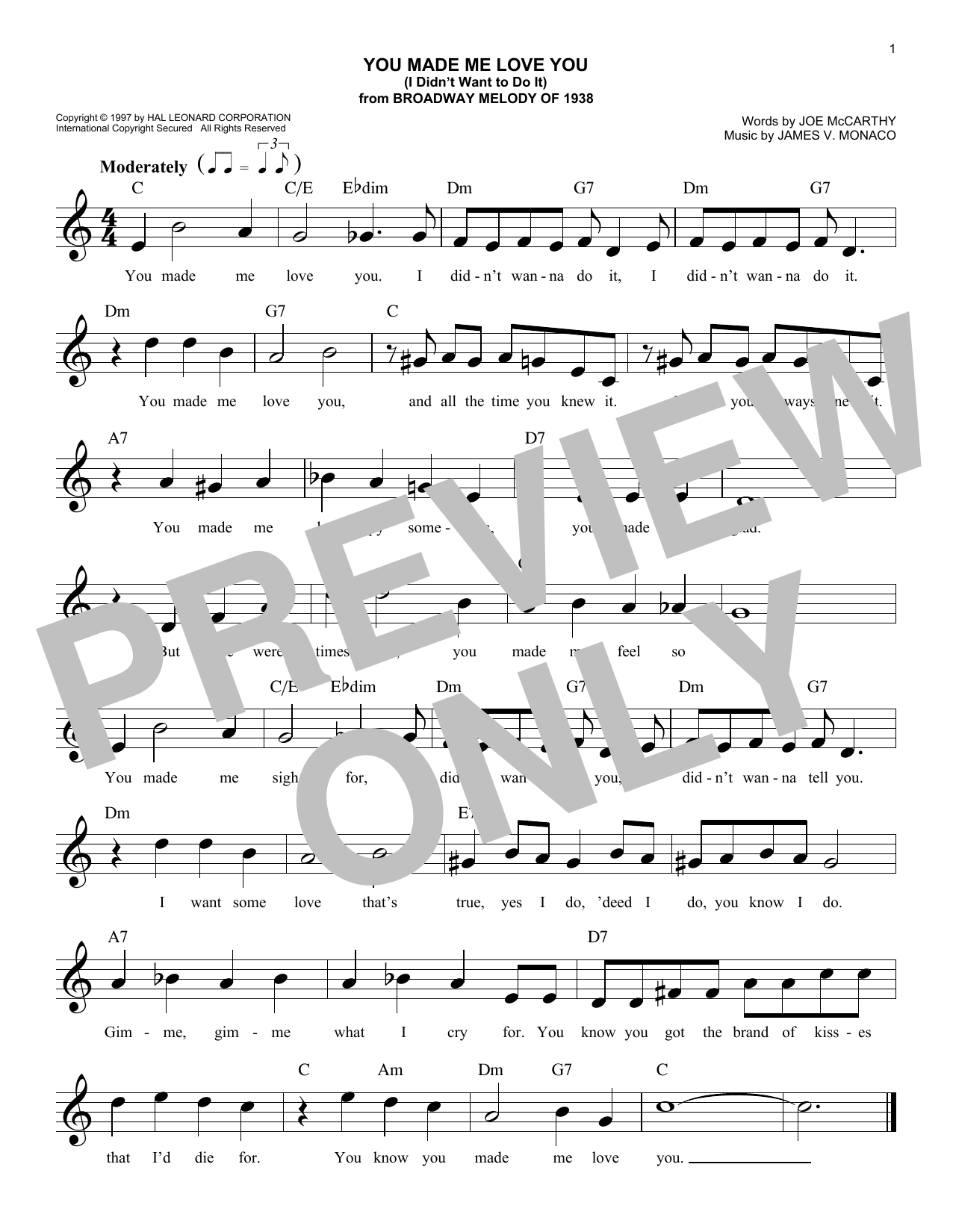 Joe McCarthy You Made Me Love You (I Didn't Want To Do It) sheet music notes and chords. Download Printable PDF.