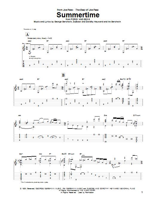 Joe Pass Summertime sheet music notes and chords. Download Printable PDF.