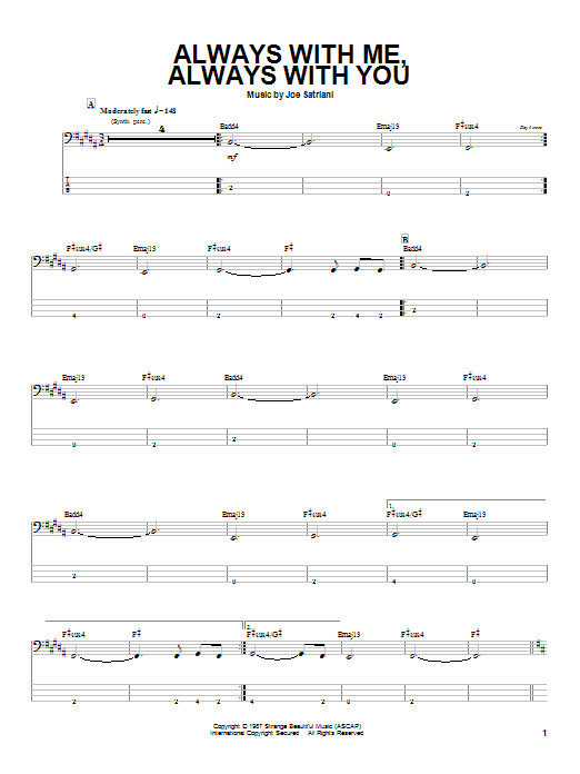 Joe Satriani Always With Me, Always With You sheet music notes and chords. Download Printable PDF.