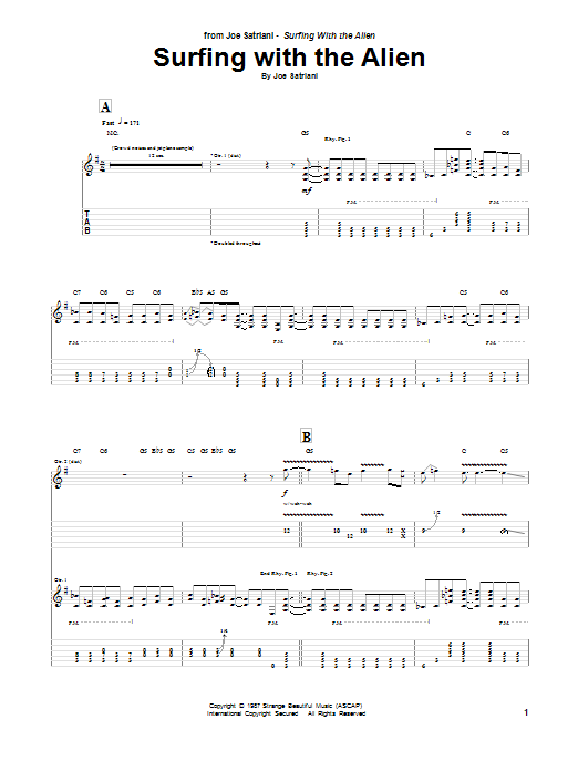 Joe Satriani Surfing With The Alien sheet music notes and chords. Download Printable PDF.