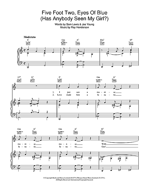 Joe Young Five Foot Two, Eyes Of Blue (Has Anybody Seen My Girl?) sheet music notes and chords. Download Printable PDF.
