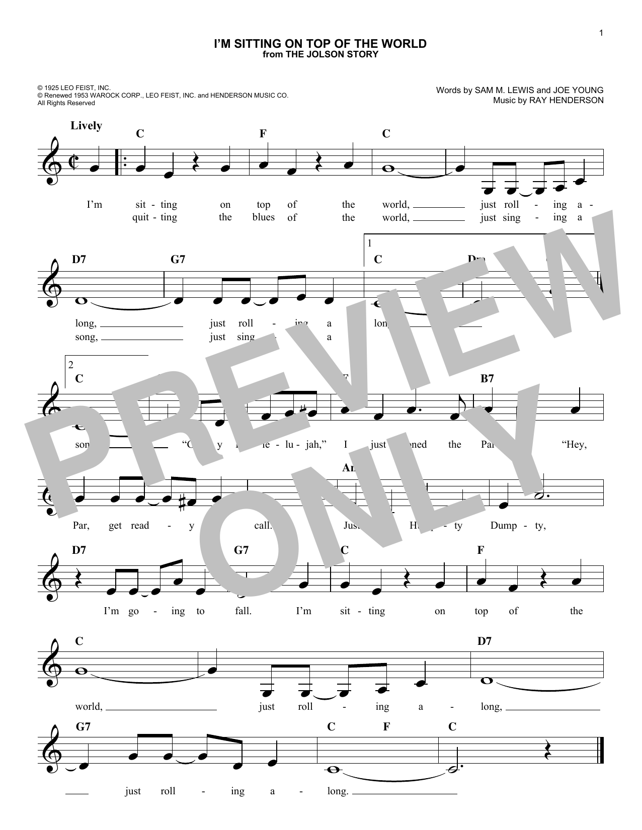 Joe Young I'm Sitting On Top Of The World sheet music notes and chords. Download Printable PDF.