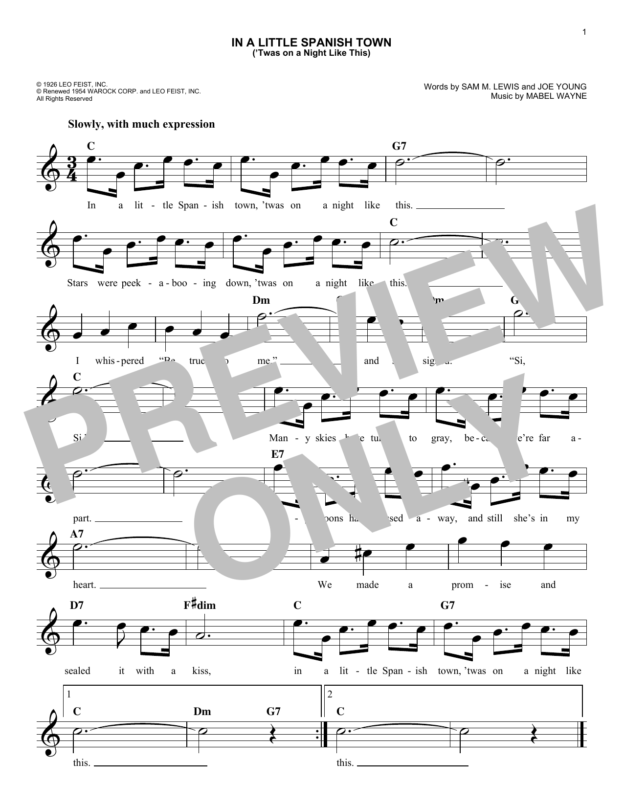 Joe Young In A Little Spanish Town ('Twas On A Night Like This) sheet music notes and chords
