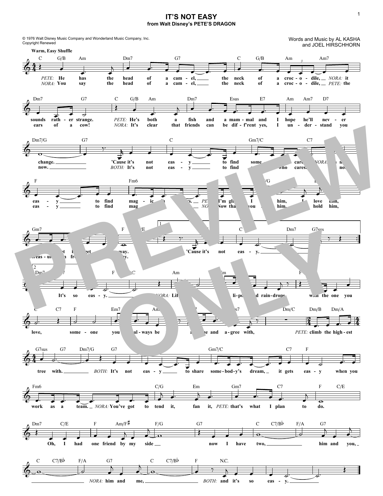 Joel Hirschhorn It's Not Easy sheet music notes and chords. Download Printable PDF.